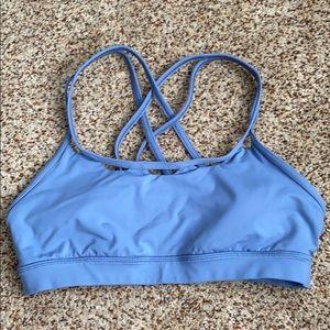 Light blue strappy Lululemon sports bra